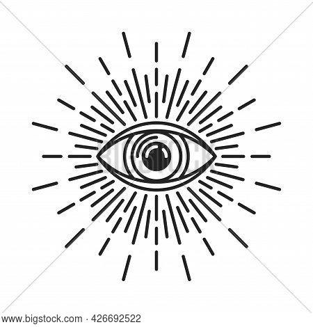 Masonic Eye Of Providence Sign On White Background. Vector