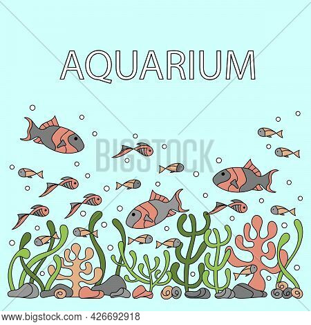 Hand-drawn Underwater Poster . Coral Reef, Seaweed Fish. Vector Texture Of The Underwater Bottom.