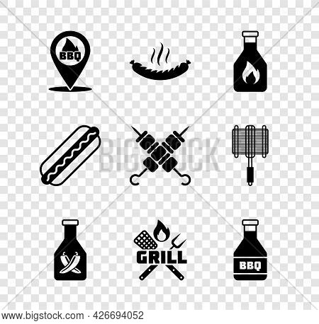 Set Location With Barbecue, Sausage, Ketchup Bottle, Crossed Fork And Spatula, Hotdog Sandwich And G