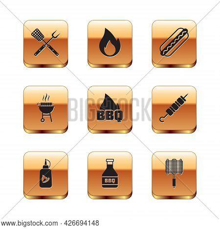 Set Crossed Fork And Spatula, Ketchup Bottle, Barbecue Fire Flame, Grilled Shish Kebab, Hotdog Sandw