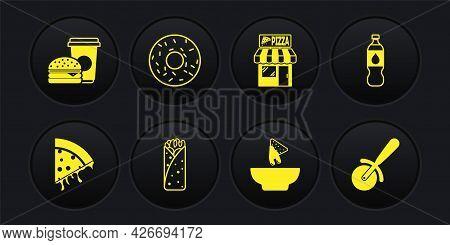 Set Slice Of Pizza, Bottle Water, Burrito, Nachos In Plate, Pizzeria Building Facade, Donut, Pizza K