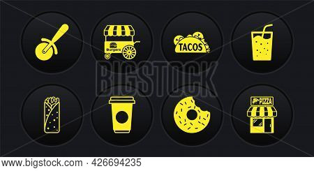 Set Burrito, Glass With Water, Coffee Cup, Donut, Taco Tortilla, Fast Street Food Cart, Pizzeria Bui