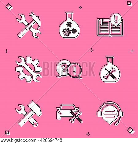 Set Crossed Hammer And Wrench, Test Tube With Virus, Interesting Facts, Wrench Gear, Question Exclam