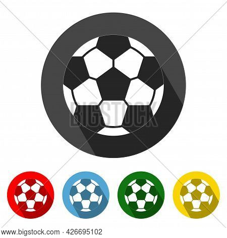 Soccer Ball Flat Style Icon With Long Shadow. Soccer Ball Icon Vector Illustration Design Element Wi