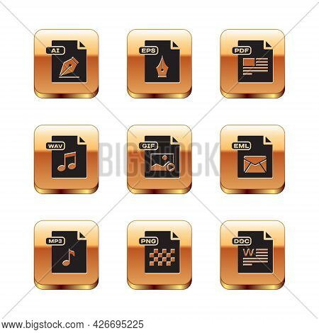 Set Ai File Document, Mp3, Png, Gif, Wav, Pdf, Doc And Eps Icon. Vector