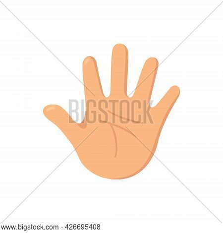Human Hand. The Palm Is Like A Sense Organ. Part Of The Body. The Organ Of Touch. Vector Illustratio