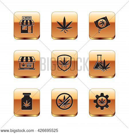 Set Marijuana And Cannabis Store, Medical Bottle With Marijuana, Stop, Shield, Online Buying, Seeds,
