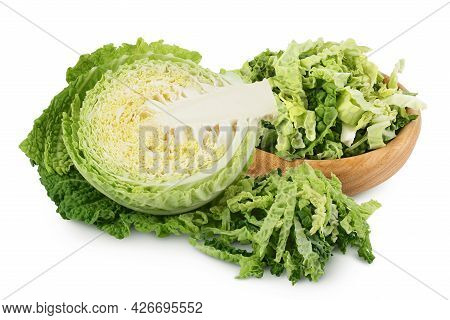 Savoy Cabbage Half And Chopped In Wooden Bowl Isolated On White Background With Clipping Path And Fu