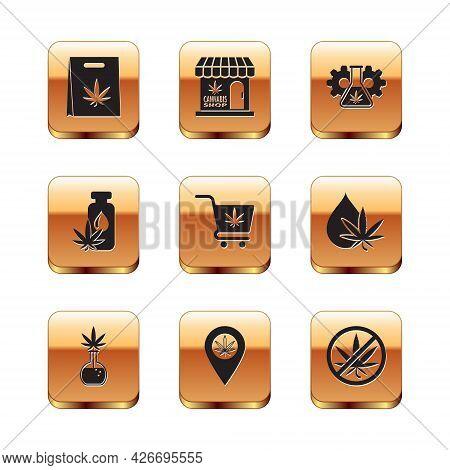 Set Shopping Bag Of Marijuana, Test Tube With, Location And, Cart, Marijuana Or Cannabis Leaf Oil, S