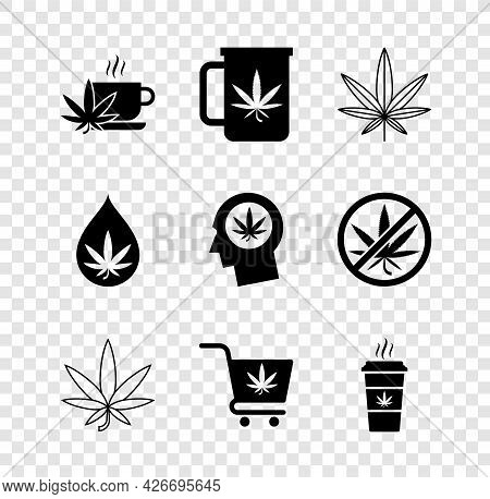 Set Cup Tea With Marijuana, Marijuana Or Cannabis Leaf, Shopping Cart, Coffee, Oil And Head Profile