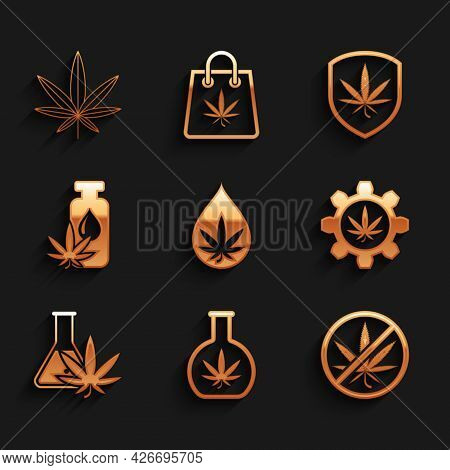 Set Marijuana Or Cannabis Leaf Oil, Test Tube With Marijuana, Stop, Shield And And Icon. Vector