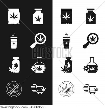 Set Magnifying Glass And Marijuana, Cup Coffee With, Marijuana Or Cannabis Seeds, Medical Bottle, Le
