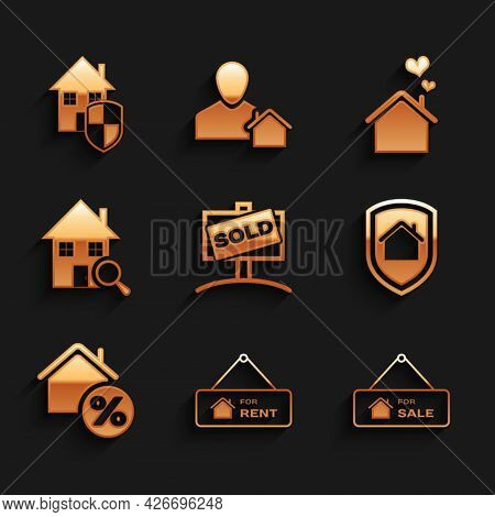 Set Hanging Sign With Sold, For Rent, Sale, House Under Protection, Percant, Search House, Heart Sha
