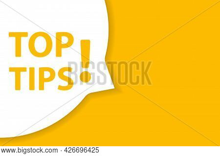 Top Tips Speech Bubble Banner Vector With Copy Space For Business, Marketing, Flyers, Bunners, Prese