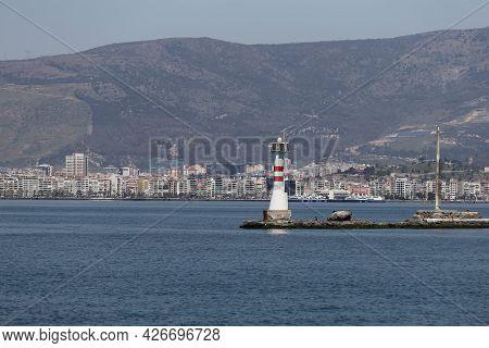 Lighthouse In Gulf Of Izmir, Izmir City, Turkey