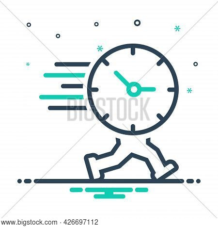 Mix Icon For Time-is-running Reminder Schedule Clock People Countdown Hour Quick