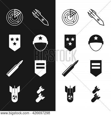 Set Military Helmet, Chevron, Radar With Targets, Biohazard Rocket, Bullet, Aviation Bomb And Nuclea