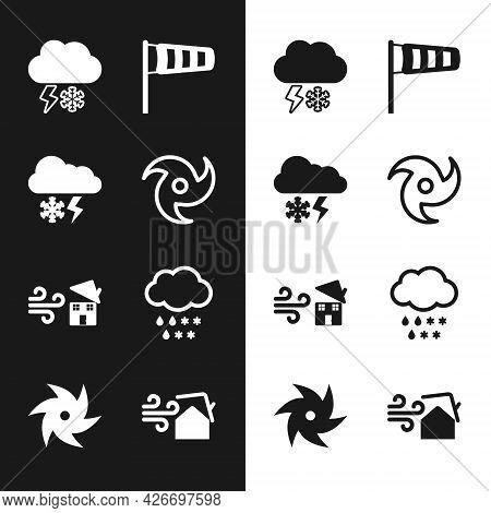 Set Tornado, Cloud With Snow And Lightning, Cone Meteorology Windsock Wind Vane, Swirl, Rain, And Ic