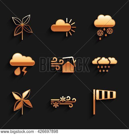 Set Tornado Swirl, Wind And Snow, Cone Windsock Wind Vane, Cloud With Rain, Pinwheel, Lightning, And