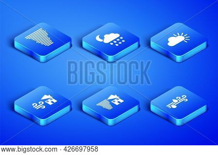 Set Wind And Rain, Tornado, Swirl, Cloud With Snow, Moon And Cloudy Icon. Vector