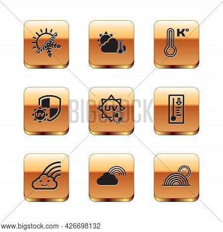 Set Sun And Snowflake, Rainbow With Cloud, Uv Protection, Meteorology Thermometer, Sun And Thermomet