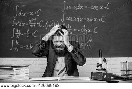 Difficult Work. Emotional Burnout. Teacher Give Up. Hate His Job. Teacher Mature Man. Fed Up. Man De