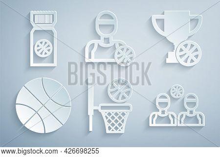 Set Basketball Ball And Basket, Award Cup With Basketball, Players, And Game Ticket Icon. Vector