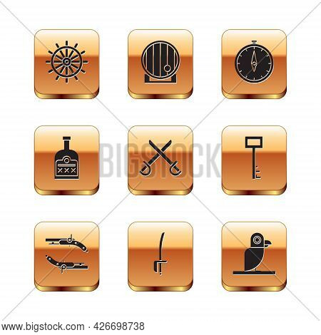 Set Ship Steering Wheel, Vintage Pistols, Pirate Sword, Crossed Pirate Swords, Alcohol Drink Rum Bot