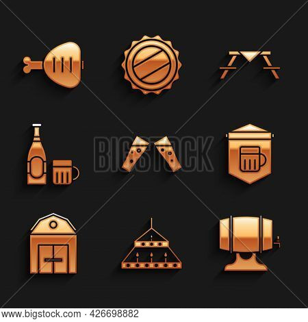 Set Glass Of Beer, Massive Steel Chandelier, Wooden Barrel On Rack, Signboard With Glass, Farm House
