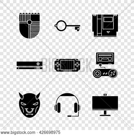 Set Shield For Game, Ancient Key, Cartridge, Mask Of The Devil With Horns, Headphones, Computer Moni