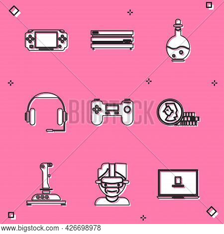 Set Portable Video Game Console, Video, Bottle With Magic Elixir, Headphones, Gamepad, Coin For, Joy