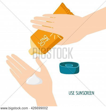 Use Sunscreen Cosmetics. Female Hand Holds Open Orange Tube With Sunscreen And Squeezes Cream Onto H