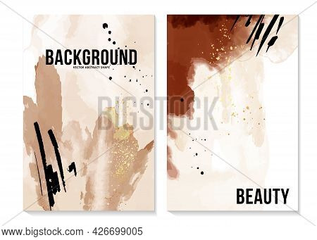 Aquarelle Ink Abstract Background Rust Poster, Boho Blush Pink, Beige Arrangement Greeting Card, Inv