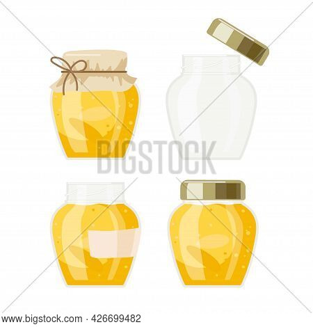 Yellow Color Jam Jar Set. Canned Fruit Or Berries Isolated. Orange Or Apricot Jam. Preserved Fruit I