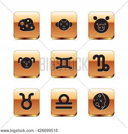 Set Asteroid, Taurus Zodiac, Libra, Gemini, Dog, Pig, Eclipse Of The Sun And Monkey Icon. Vector