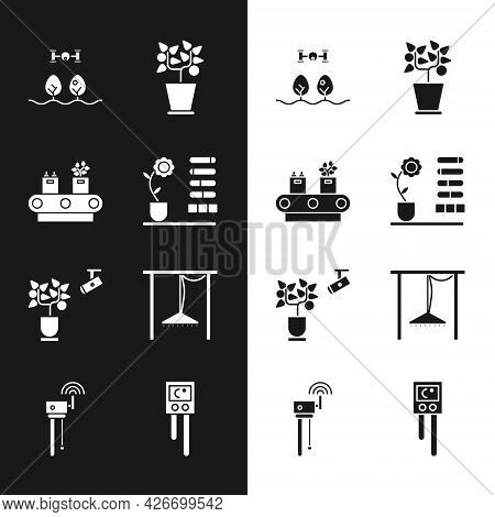 Set Flower Status, Conveyor Belt With Box, Smart Farm Drone, Plant In Pot, Farming Technology, Autom