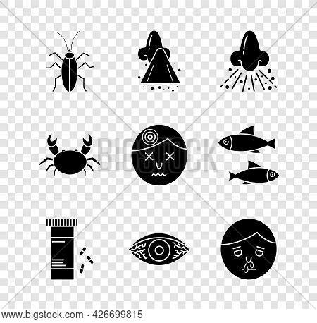 Set Cockroach, Runny Nose, Medicine Bottle And Pills, Reddish Eye Allergic Conjunctivitis, Crab And