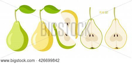 Yellow And Green Pears. Flat Icon Pear Fruit Set. Whole With Leaf, Cut, Segment. Farmer Market Logo.