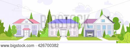 Empty No Peope Street Town Houses Cottages Country Real Estate Concept Private Residential Architect