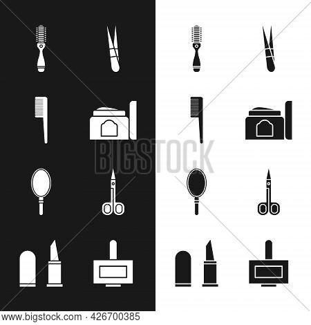 Set Cream Cosmetic Tube, Hairbrush, Eyebrow Tweezers, Hand Mirror, Scissors, Nail Polish Bottle And
