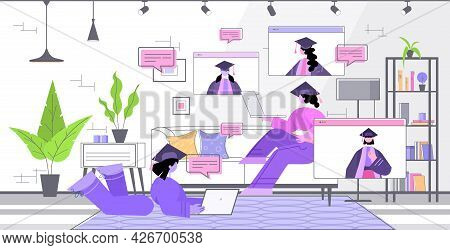 Graduated Students Discussing During Video Call Graduates Celebrating Academic Diploma Degree Educat