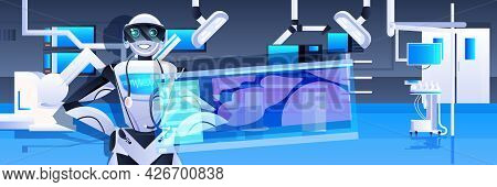 Robotic Doctor Surgeon Near Virtual Screen Medicine Healthcare Artificial Intelligence Technology Co