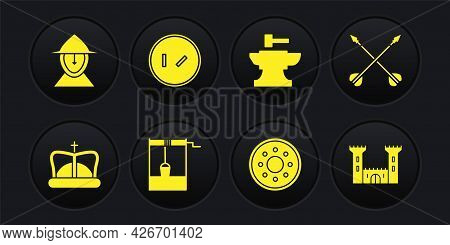 Set King Crown, Medieval Crossed Arrows, Well With Bucket, Round Wooden Shield, Anvil For Blacksmith
