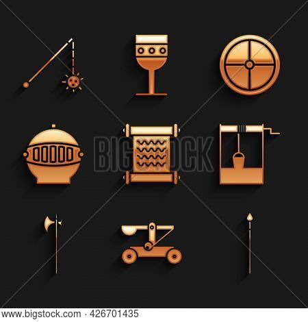 Set Decree, Parchment, Scroll, Catapult Shooting Stones, Medieval Spear, Well With Bucket, Halberd,
