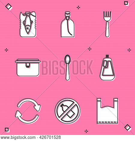 Set Stop Ocean Plastic Pollution, Bottle Of Liquid Soap, Disposable Fork, Lunch Box, Spoon, Dishwash