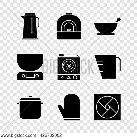 Set Kettle With Handle, Oven, Mortar Pestle, Cooking Pot, Glove, Ventilation, Electronic Scales And