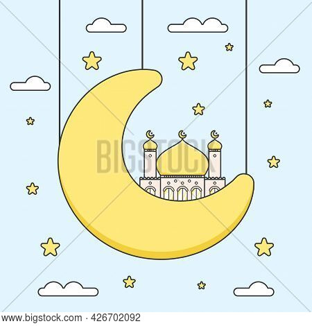 Cute Golden Dome Flat Design Ramadan Mosque On Half Crescent Moon