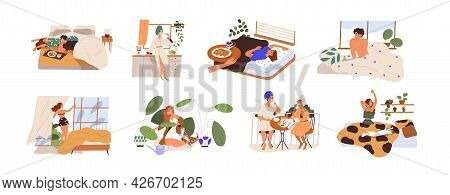 Set Of Happy People And Their Morning Routine And Habits. Sleepy Man And Woman Waking Up, Stretching