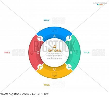 Cycle Infographic Vector, 4 Options Diagram With Flat Icons, Circle Chart Infographic Template.(divi