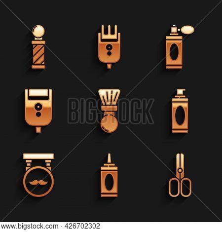Set Shaving Brush, Bottle Of Shampoo, Scissors Hairdresser, Gel Foam, Barbershop, Electric Razor Bla